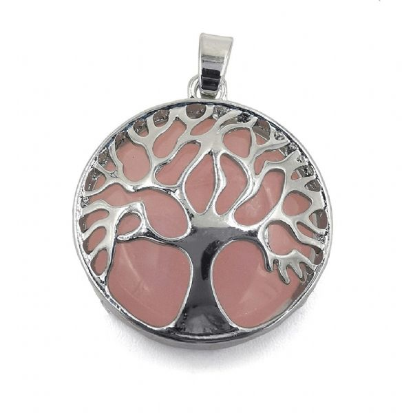 Rhodium Plated Rose Quartz Tree of Life Pendant 27mm x 31mm